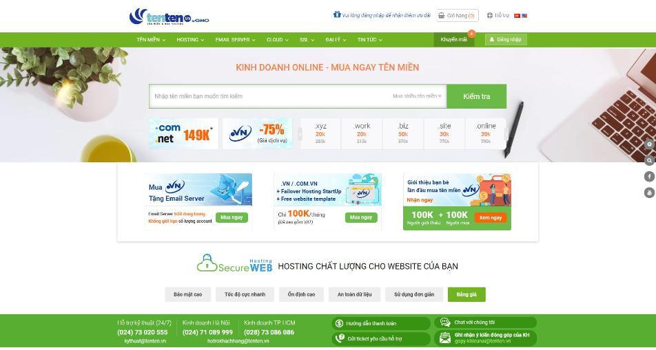 Nhà cung cấp hosting Việt Nam Tenten