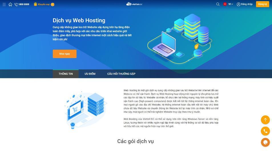 Nhà cung cấp hosting VIệt Nam Viettelidc